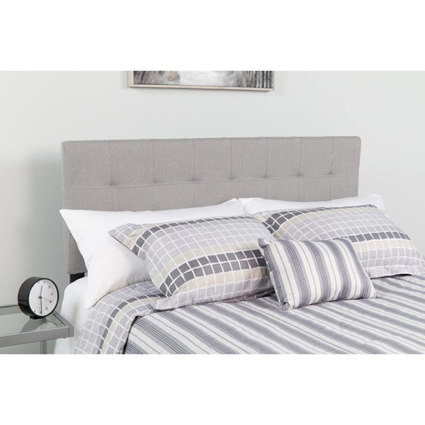 Wholesale Bedford Tufted Upholstered Twin Size Headboard in Light Gray Fabric