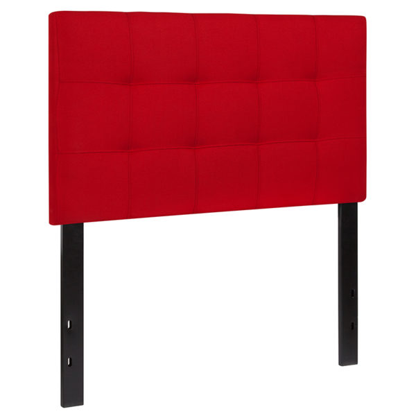 Contemporary Style Twin Headboard-Red Fabric