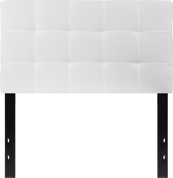 Lowest Price Bedford Tufted Upholstered Twin Size Headboard in White Fabric