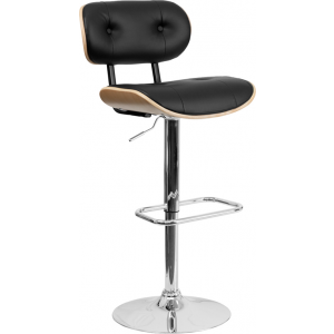 Wholesale Beech Bentwood Adjustable Height Barstool with Button Tufted Black Vinyl Seat