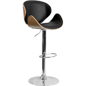 Wholesale Beech Bentwood Adjustable Height Barstool with Curved Back and Black Vinyl Seat