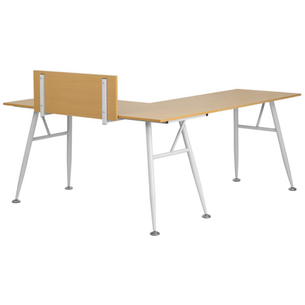 Lowest Price Beech Laminate L-Shape Computer Desk with White Metal Frame
