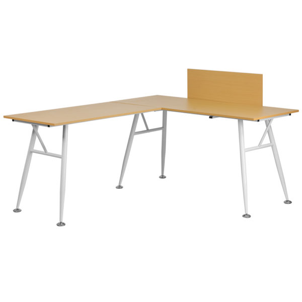 Wholesale Beech Laminate L-Shape Computer Desk with White Metal Frame
