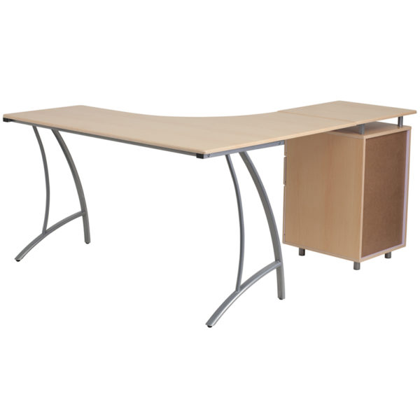 Lowest Price Beech Laminate L-Shape Desk with Three Drawer Pedestal