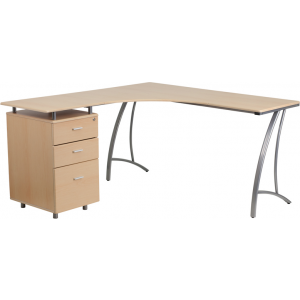 Wholesale Beech Laminate L-Shape Desk with Three Drawer Pedestal