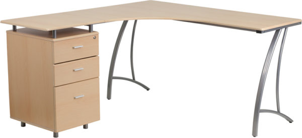 Wholesale Beech Laminate L-Shape Desk with Three Drawer Pedestal
