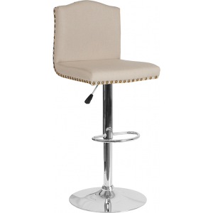 Wholesale Bellagio Contemporary Adjustable Height Barstool with Accent Nail Trim in Beige Fabric