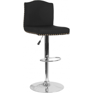 Wholesale Bellagio Contemporary Adjustable Height Barstool with Accent Nail Trim in Black Fabric