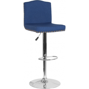 Wholesale Bellagio Contemporary Adjustable Height Barstool with Accent Nail Trim in Blue Fabric