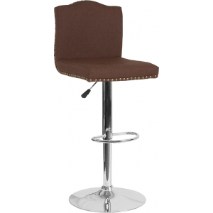 Wholesale Bellagio Contemporary Adjustable Height Barstool with Accent Nail Trim in Brown Fabric