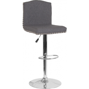 Wholesale Bellagio Contemporary Adjustable Height Barstool with Accent Nail Trim in Dark Gray Fabric