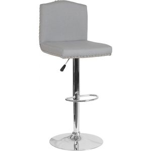 Wholesale Bellagio Contemporary Adjustable Height Barstool with Accent Nail Trim in Light Gray Fabric