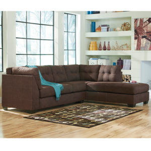 Wholesale Benchcraft Maier Sectional with Right Side Facing Chaise in Walnut Microfiber
