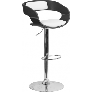 Wholesale Bentwood Two Tone Black & White Vinyl Adjustable Height Barstool