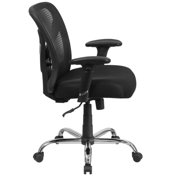 Big and tall office chair with wheels and adjustable height back Black 400LB Mid-Back Chair