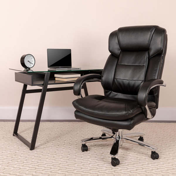 Lowest Price Big & Tall Office Chair   Black Leather Swivel Executive Desk Chair with Wheels