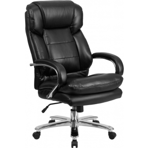 Wholesale Big & Tall Office Chair | Black Leather Swivel Executive Desk Chair with Wheels