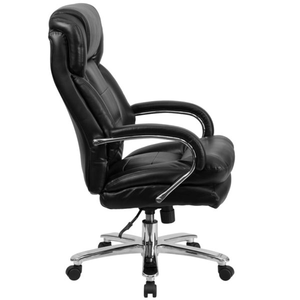 Big and tall office chair with wheels Black 24/7 High Back-500LB
