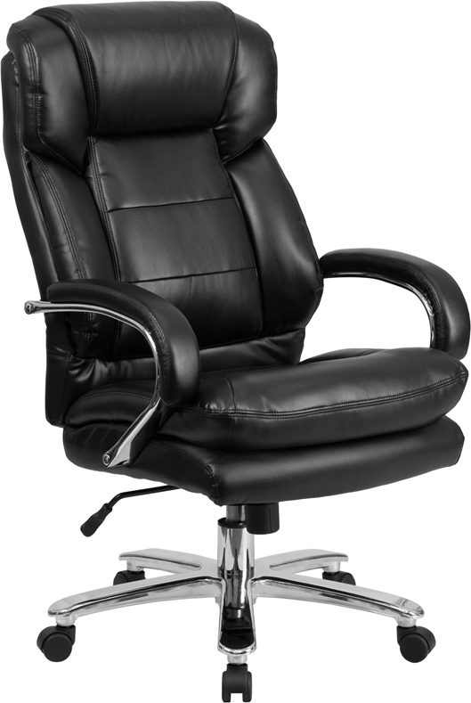 Wholesale Big & Tall Office Chair   Black Leather Swivel Executive Desk Chair with Wheels