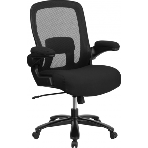 Wholesale Big & Tall Office Chair | Black Mesh Executive Swivel Office Chair with Lumbar and Back Support and Wheels