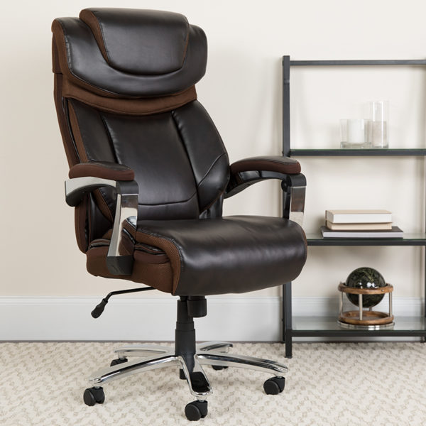 Lowest Price Big & Tall Office Chair | Brown LeatherSoft Executive Swivel Office Chair with Headrest and Wheels
