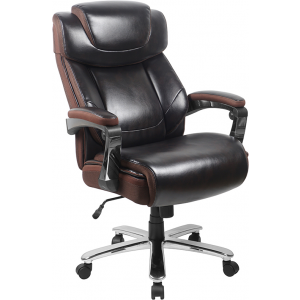 Wholesale Big & Tall Office Chair | Brown LeatherSoft Executive Swivel Office Chair with Headrest and Wheels