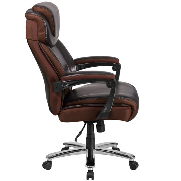 Big and tall office chair with wheels and adjustable headrest Brown 500LB High Back Chair