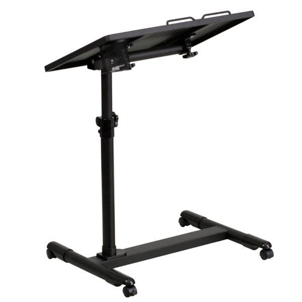 Lowest Price Black Adjustable Height Steel Mobile Computer Desk