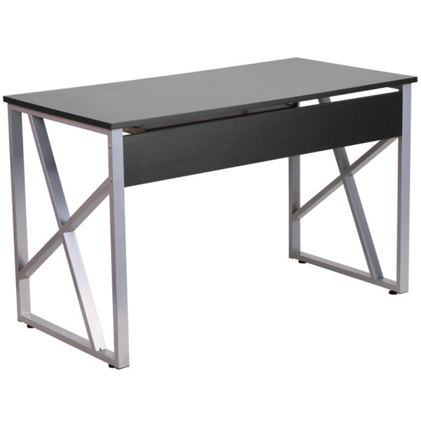Lowest Price Black Computer Desk with Pull-Out Keyboard Tray and Cross-Brace Frame