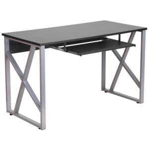 Wholesale Black Computer Desk with Pull-Out Keyboard Tray and Cross-Brace Frame