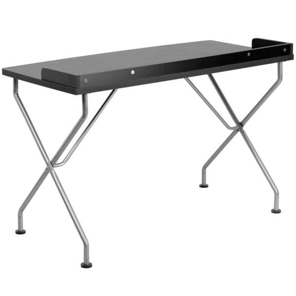 Lowest Price Black Computer Desk with Raised Border and Silver Metal Frame