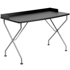 Wholesale Black Computer Desk with Raised Border and Silver Metal Frame