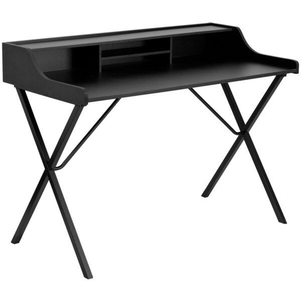 Wholesale Black Computer Desk with Top Shelf