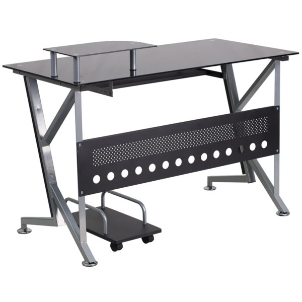 Lowest Price Black Glass Computer Desk with Pull-Out Keyboard Tray and CPU Cart