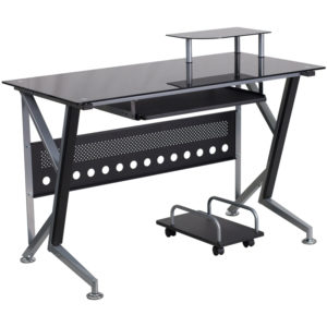 Wholesale Black Glass Computer Desk with Pull-Out Keyboard Tray and CPU Cart