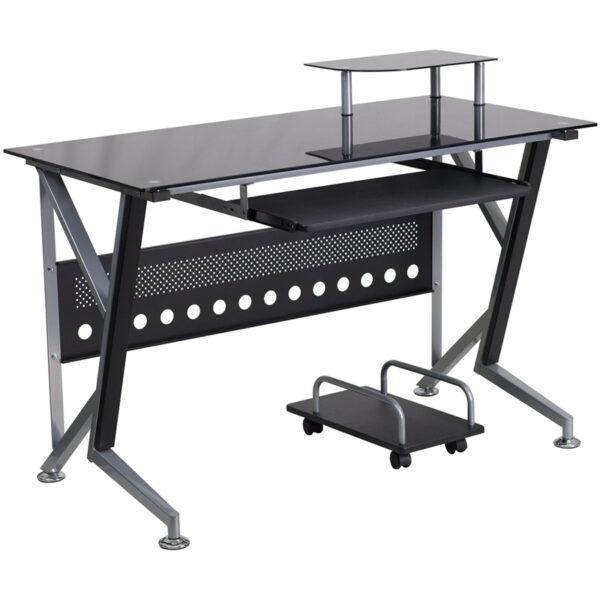 Contemporary Style Black Glass Keyboard Desk