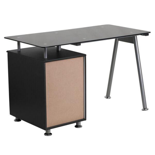 Lowest Price Black Glass Computer Desk with Three Drawer Pedestal
