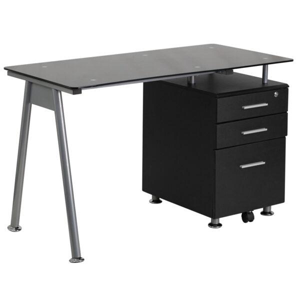 Wholesale Black Glass Computer Desk with Three Drawer Pedestal