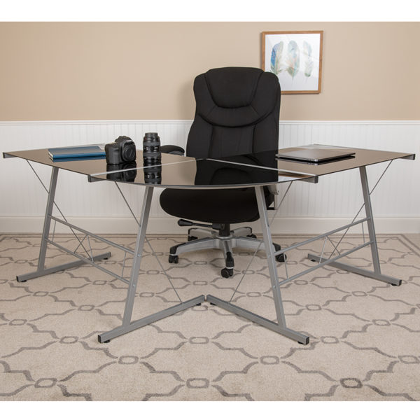Lowest Price Black Glass L-Shape Corner Computer Desk with Silver Metal Frame