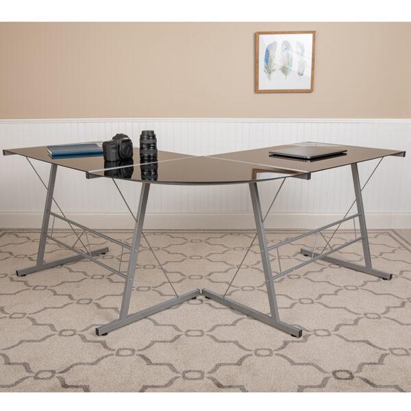 Contemporary Style Black Glass L-Shape Desk