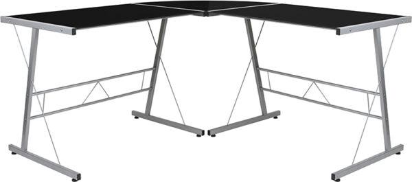 Wholesale Black Glass L-Shape Corner Computer Desk with Silver Metal Frame