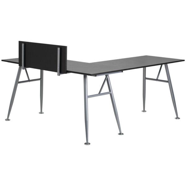 Lowest Price Black Laminate L-Shape Computer Desk with Silver Metal Frame