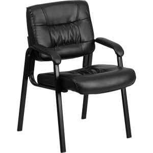 Wholesale Black Leather Executive Side Reception Chair with Black Metal Frame