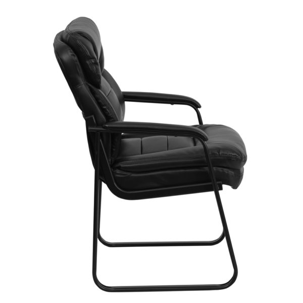 Lowest Price Black Leather Executive Side Reception Chair with Lumbar Support and Sled Base