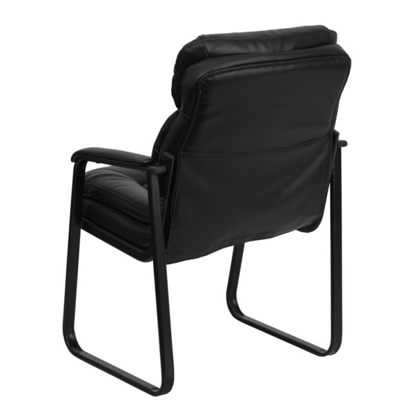 Guest Office Chair Black Leather Side Chair