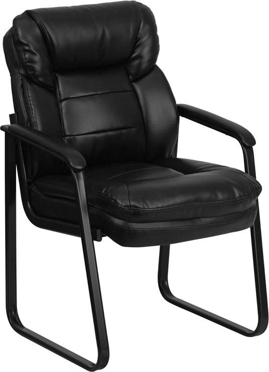 Wholesale Black Leather Executive Side Reception Chair with Lumbar Support and Sled Base