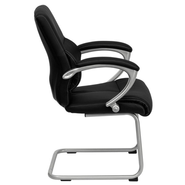 Lowest Price Black Leather Executive Side Reception Chair with Silver Sled Base