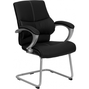 Wholesale Black Leather Executive Side Reception Chair with Silver Sled Base