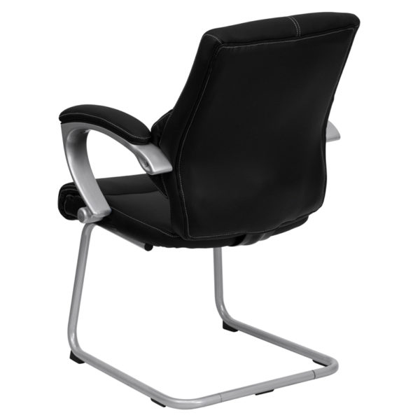 Executive Guest Office Chair Black Leather Side Chair