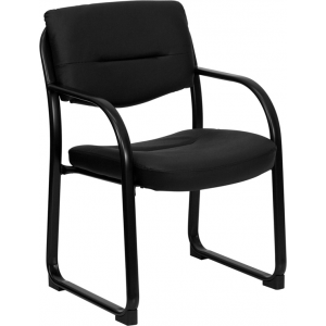 Wholesale Black Leather Executive Side Reception Chair with Sled Base